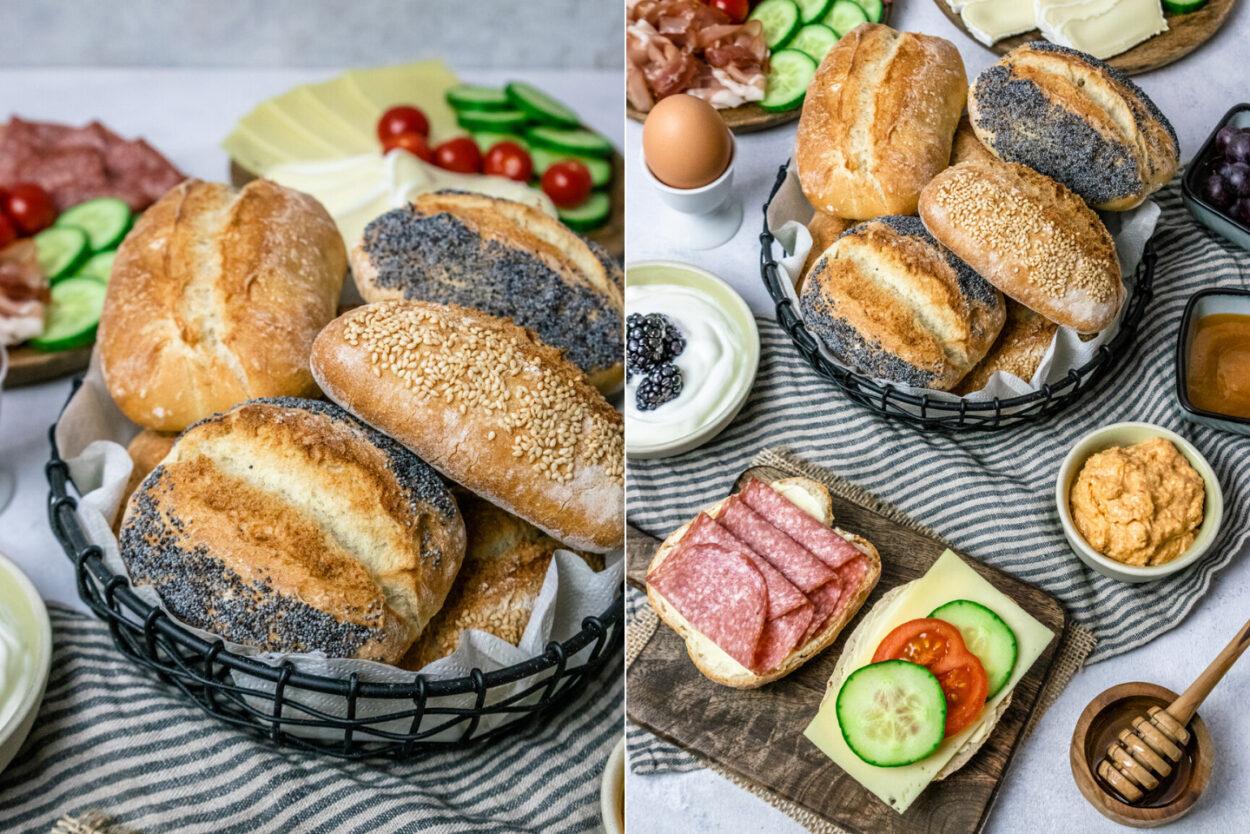 Rezept für selbstgebackenen Frühstücksbrötchen - knusprige Weizenbrötchen