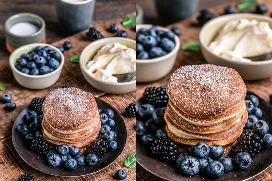 Rezept fluffige Pancakes mit Blaubeeren