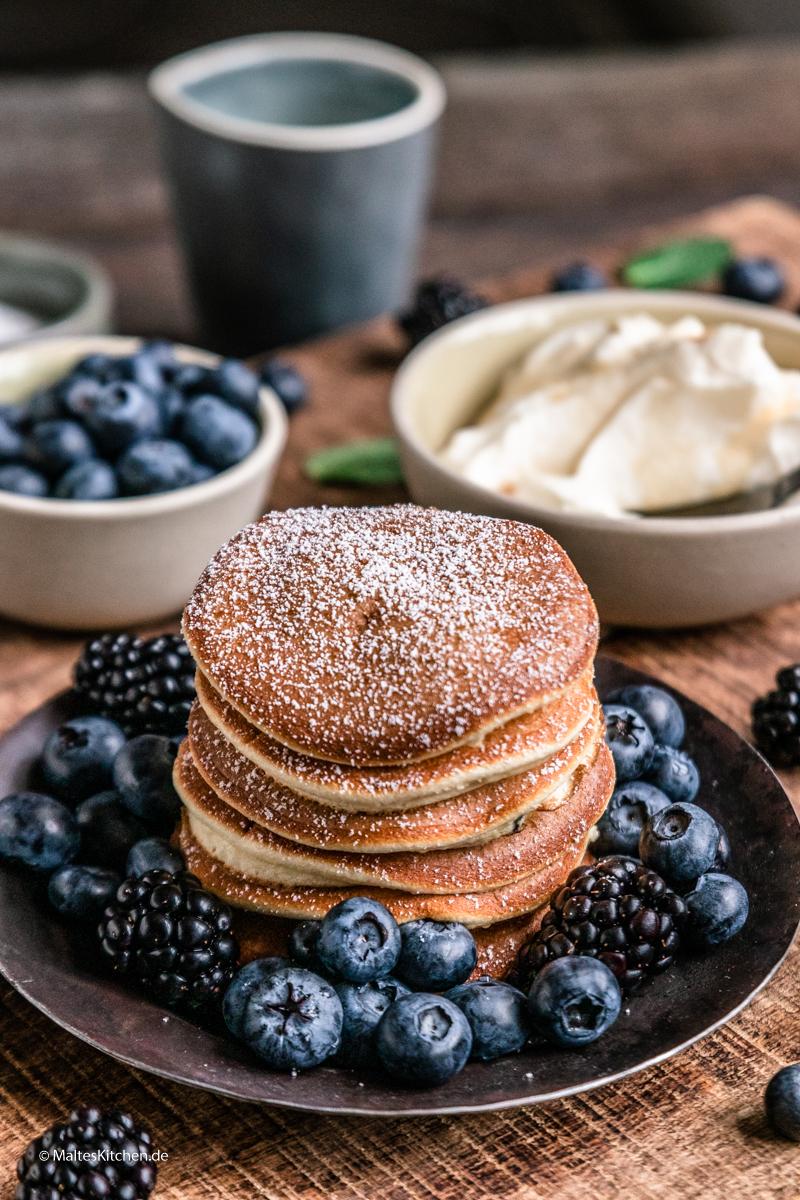Super leckere Pancakes mit Blaubeeren
