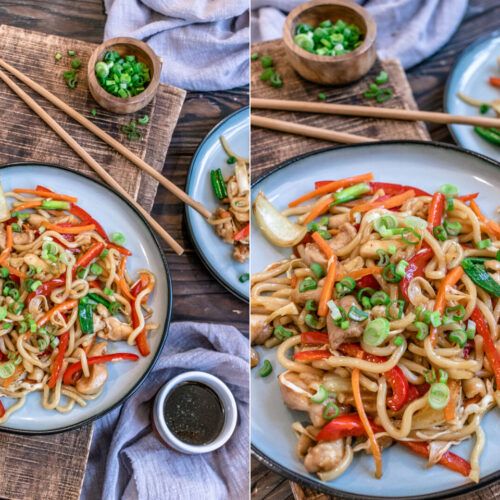 Rezept Yaki Udon Nudeln mit Hähnchen und Gemüse