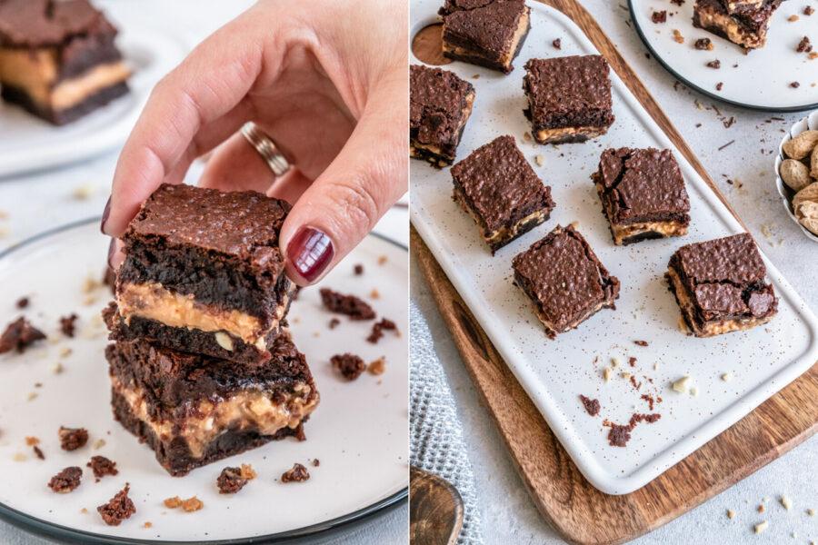 Rezept Brownie mit Schokolade und Erdnussbuttercreme