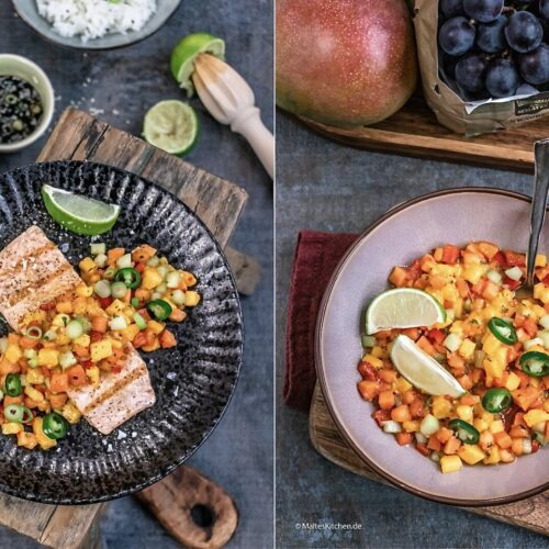 Rezept für gegrillter Lachs mit Papaya-Mango-Salsa