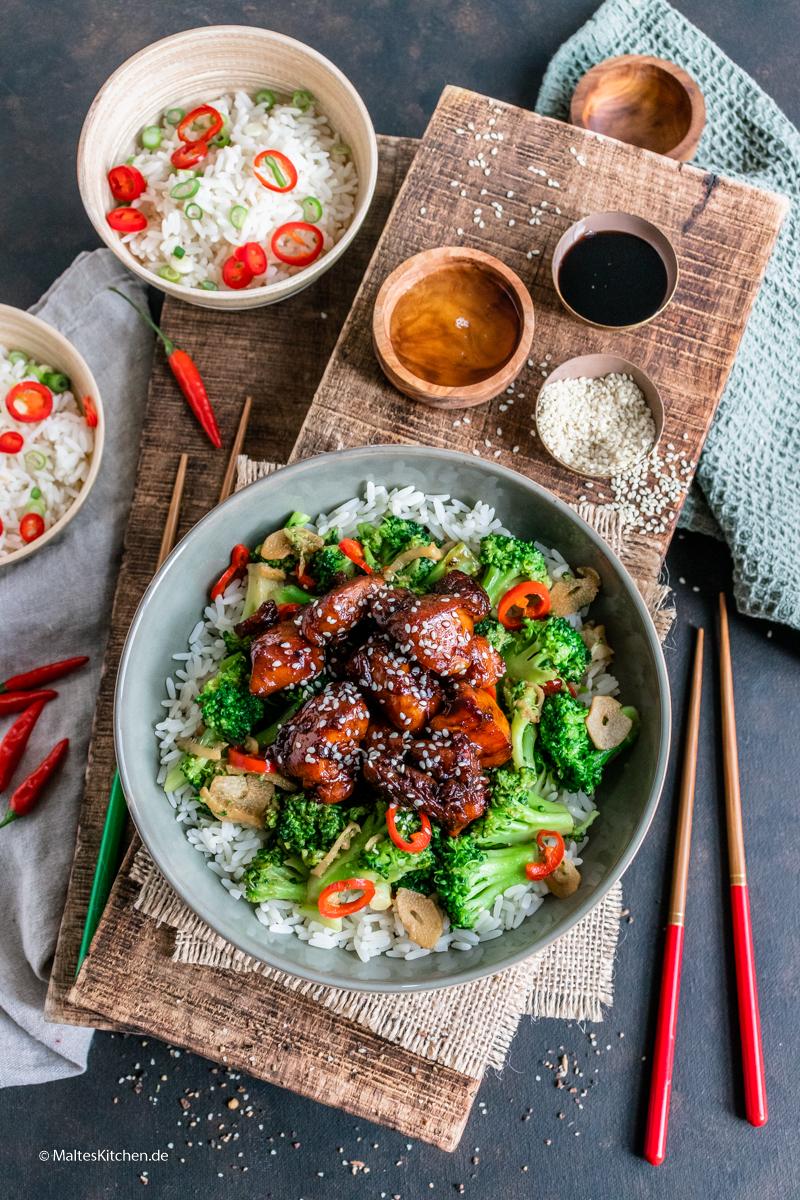 Teriyaki-Hähnchen mit Asia-Brokkoli