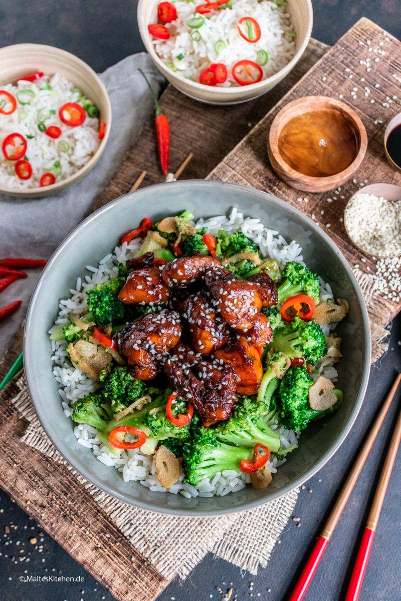 Saftiges teriyaki-Hähnchen mit Brokkoli und Reis