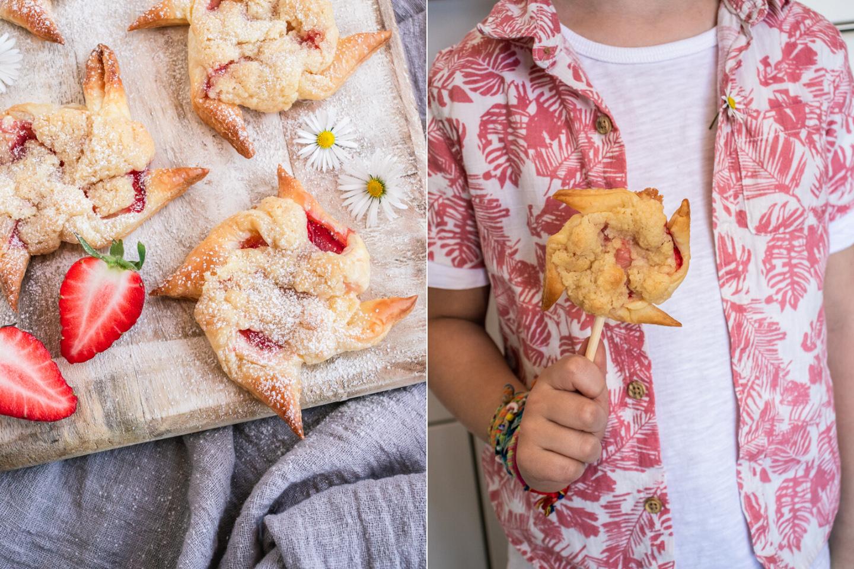 Rezept knusprige Windmühlen aus Blätterteig mit Pudding und Erdbeeren