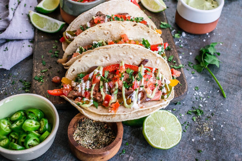 Rezept mexikanische Fajitas mit Rindfleisch und Paprikagemüse