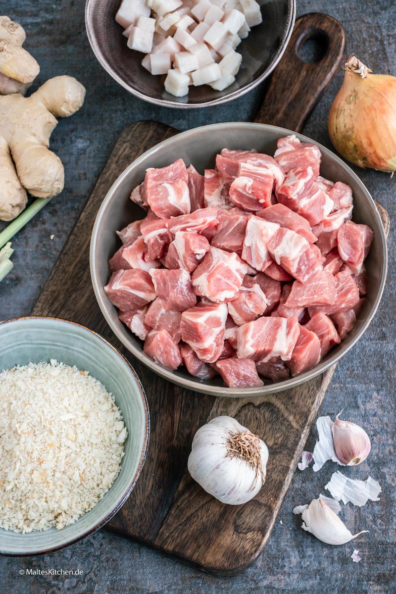 Die Zutaten für meinen Schweinefleisch Burger