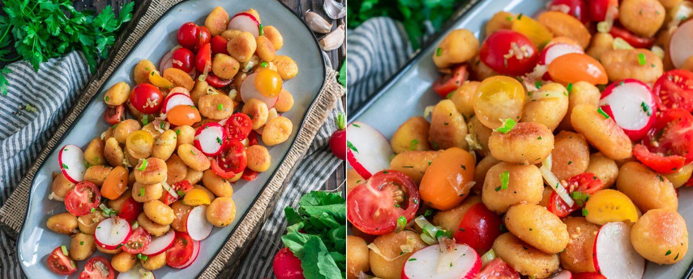 Rezept knusprige Gnocchi mit Tomaten-Radieschen-Salat