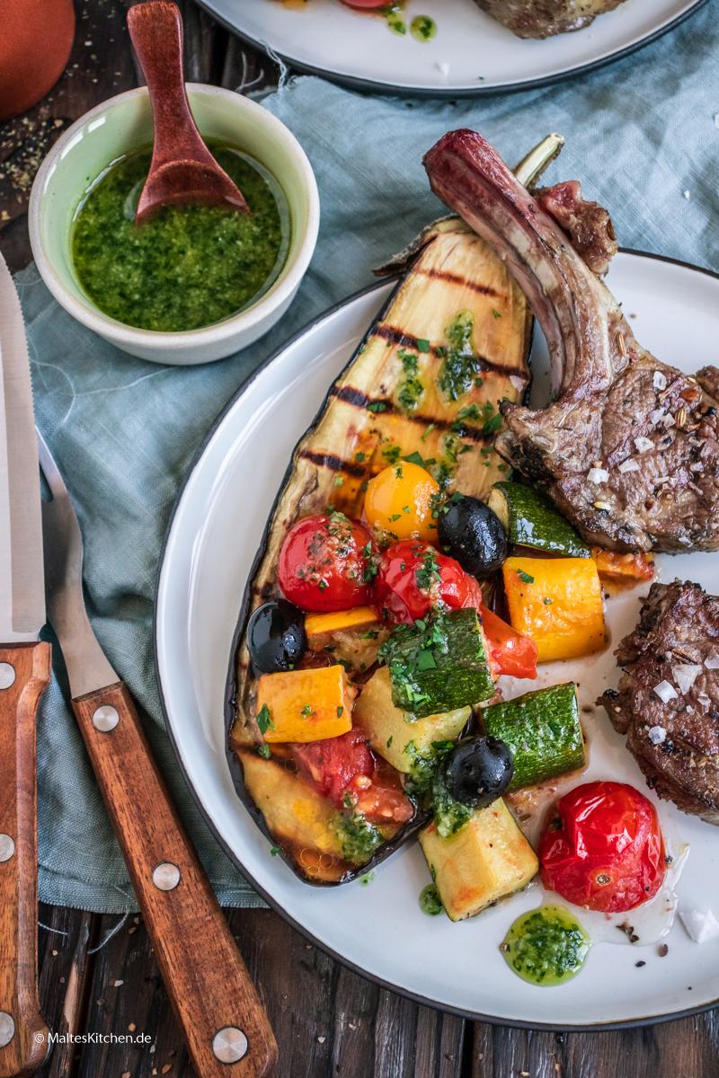 Tomaten-Auberginen-Salat vom SEVO GTS Elektrogrill
