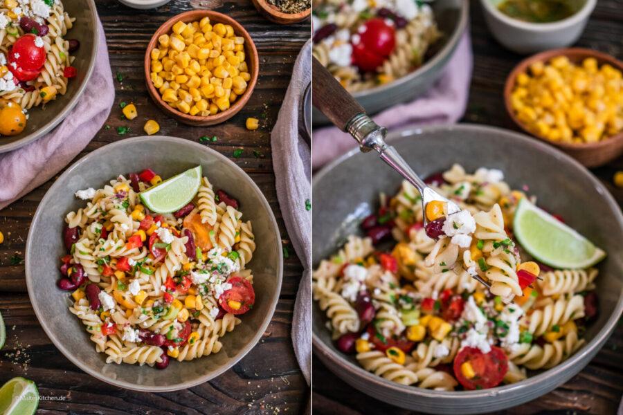 Rezept Nudelsalat mit Kitneybohnen,Mais und Fetakäse