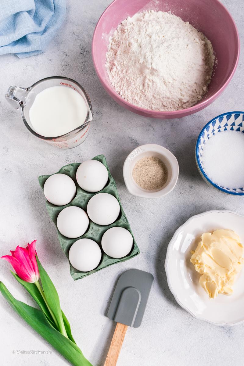Zutaten für meine Osterkränze aus Hefeteig
