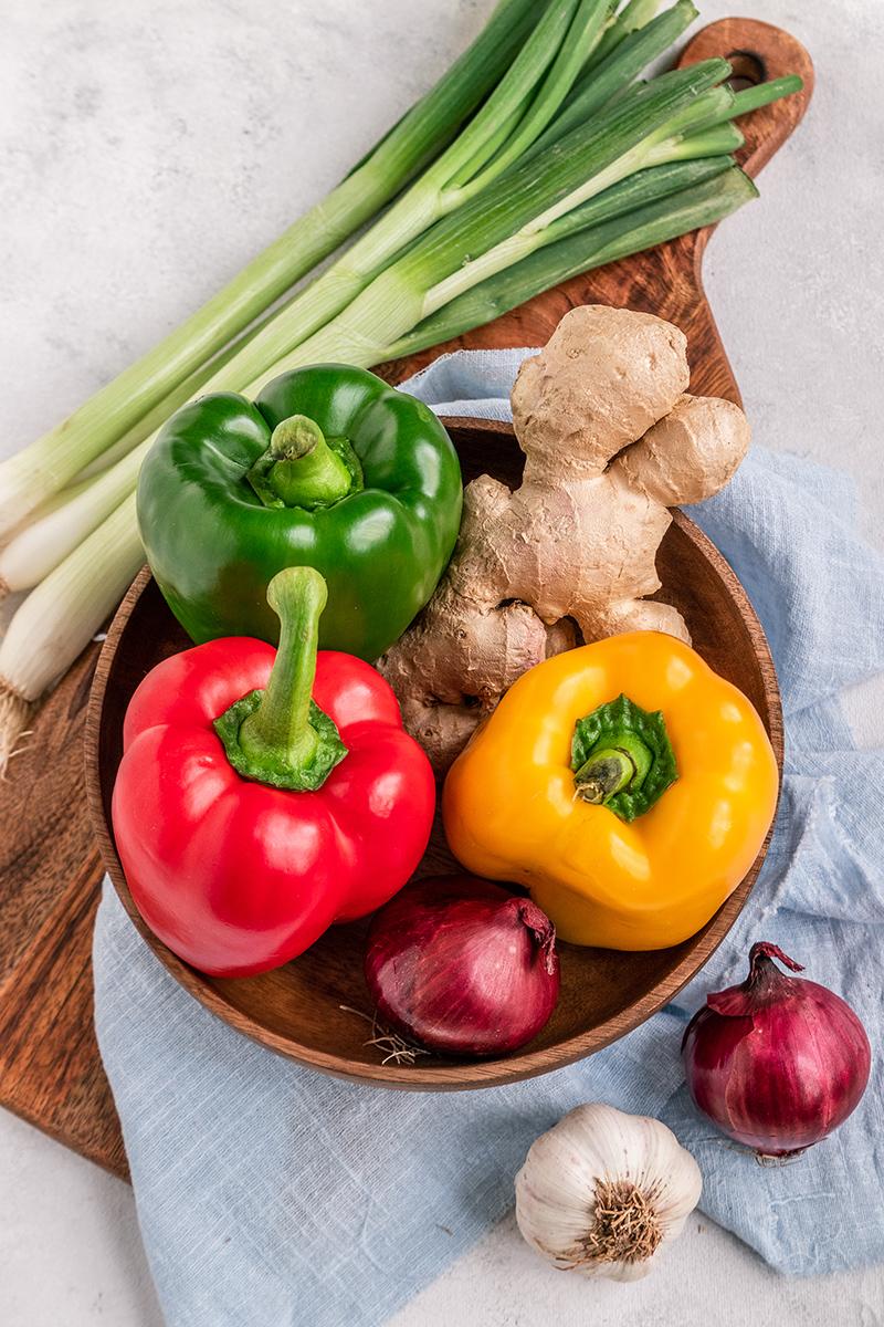 Das Gemüse für süß-sauer