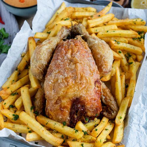 Rezept knuspriges Hähnchen mit Pommes