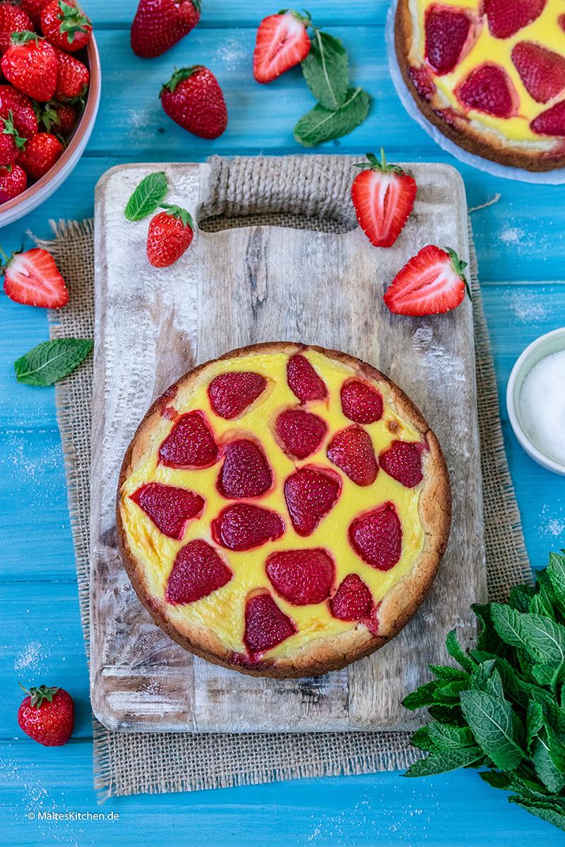 Süße Erdbeerpizza
