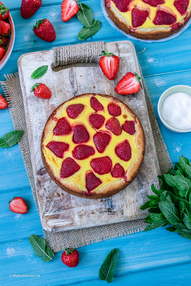 Knusprige Erdbeerpizza