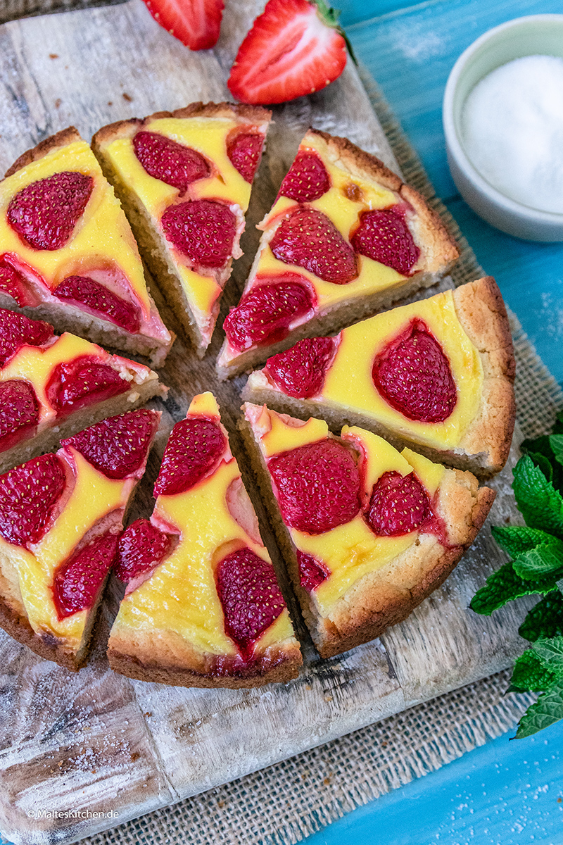 Erdbeerpizza mit Pudding