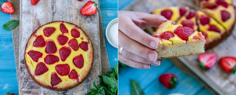 Rezept knusprige Erdbeerpizza mit Pudding-Schmand-Creme