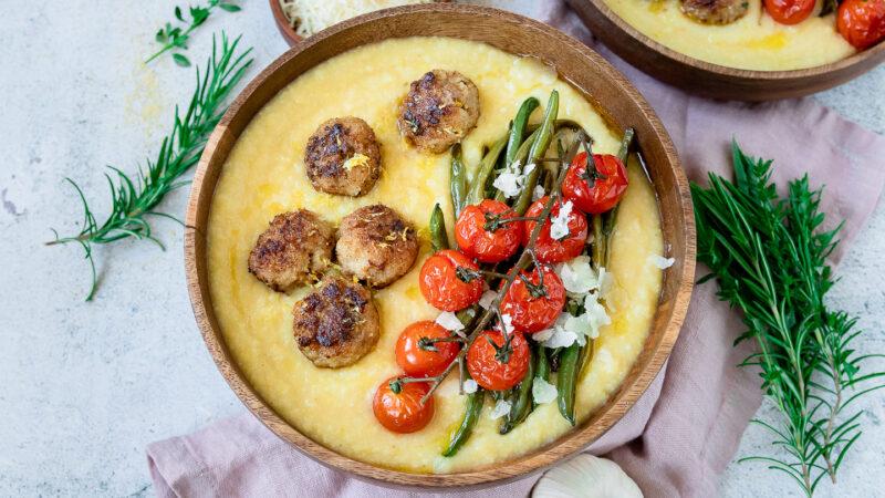 Rezept feine Kalbsfrikadellen mi Polenta und Bohnen-Tomaten-Gemüse