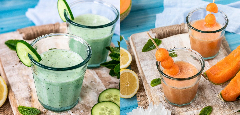 Rezept für zwei erfrischende Sommer-Shakes mit Buttermilch, Gurke und Melone