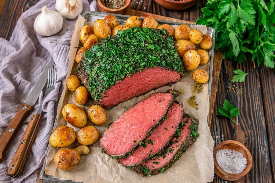 Rezept Roastbeef vom Grill im Kräutermantel