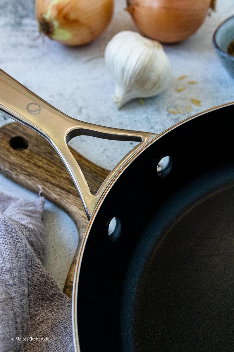 Die Olav Pfanne hat eine Beschichtung aus Kupfer.