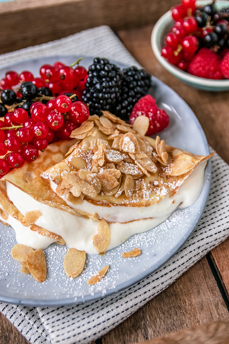 Pfannkuchen mit Mandelkrokant.