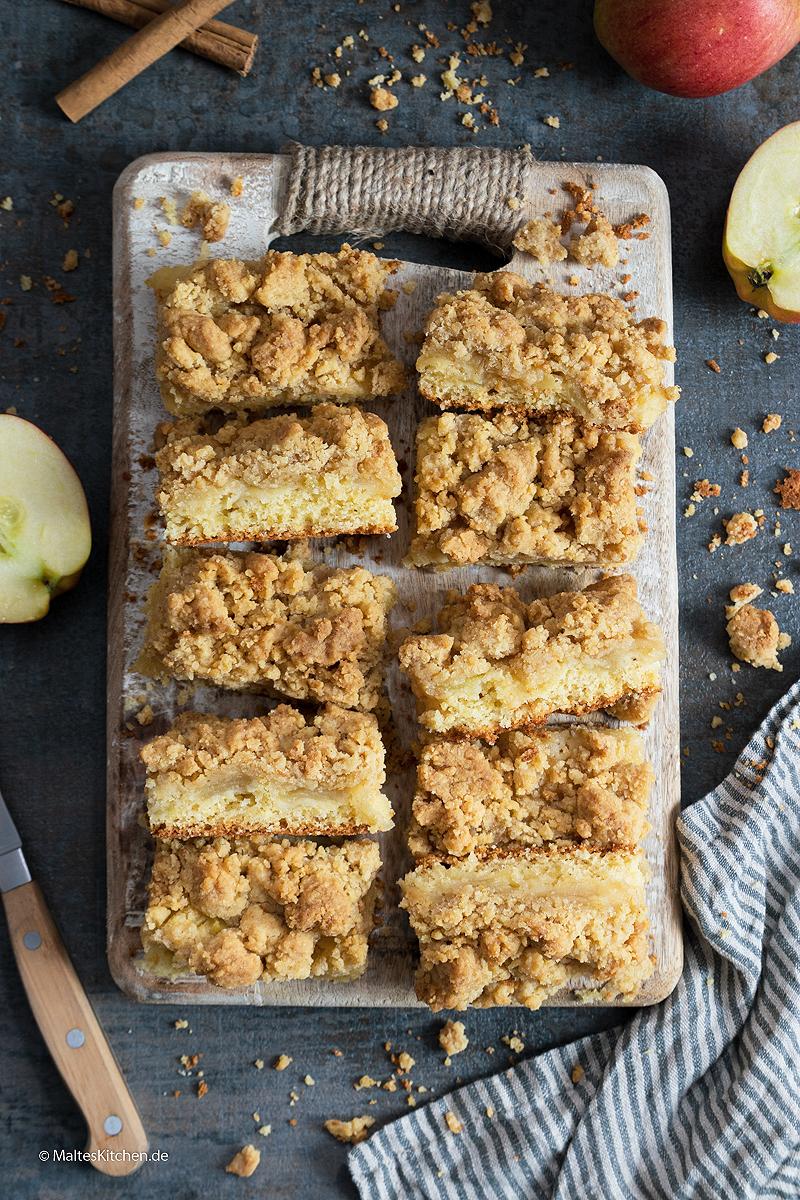 Sehr leckerer Apfelkuchen mit Streuseln.