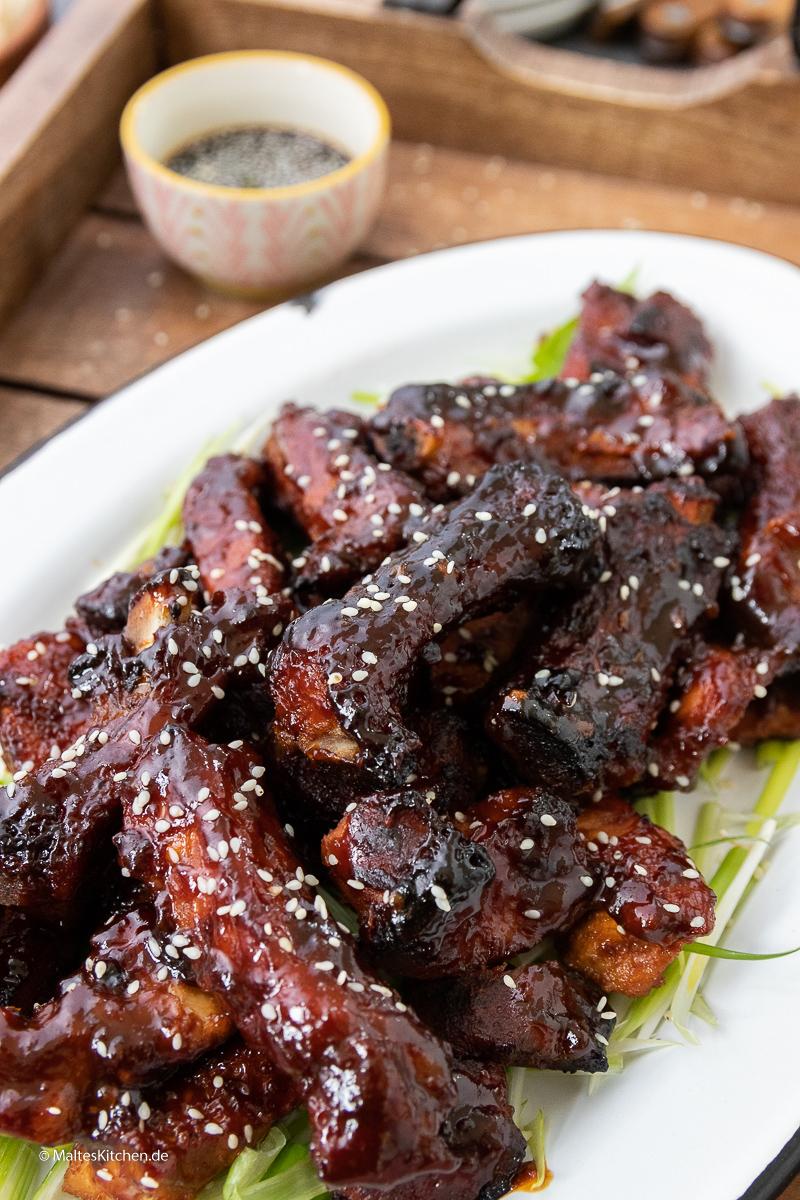 Süß, klebrig, lecker - meine chinesischen BBQ-Ribs.
