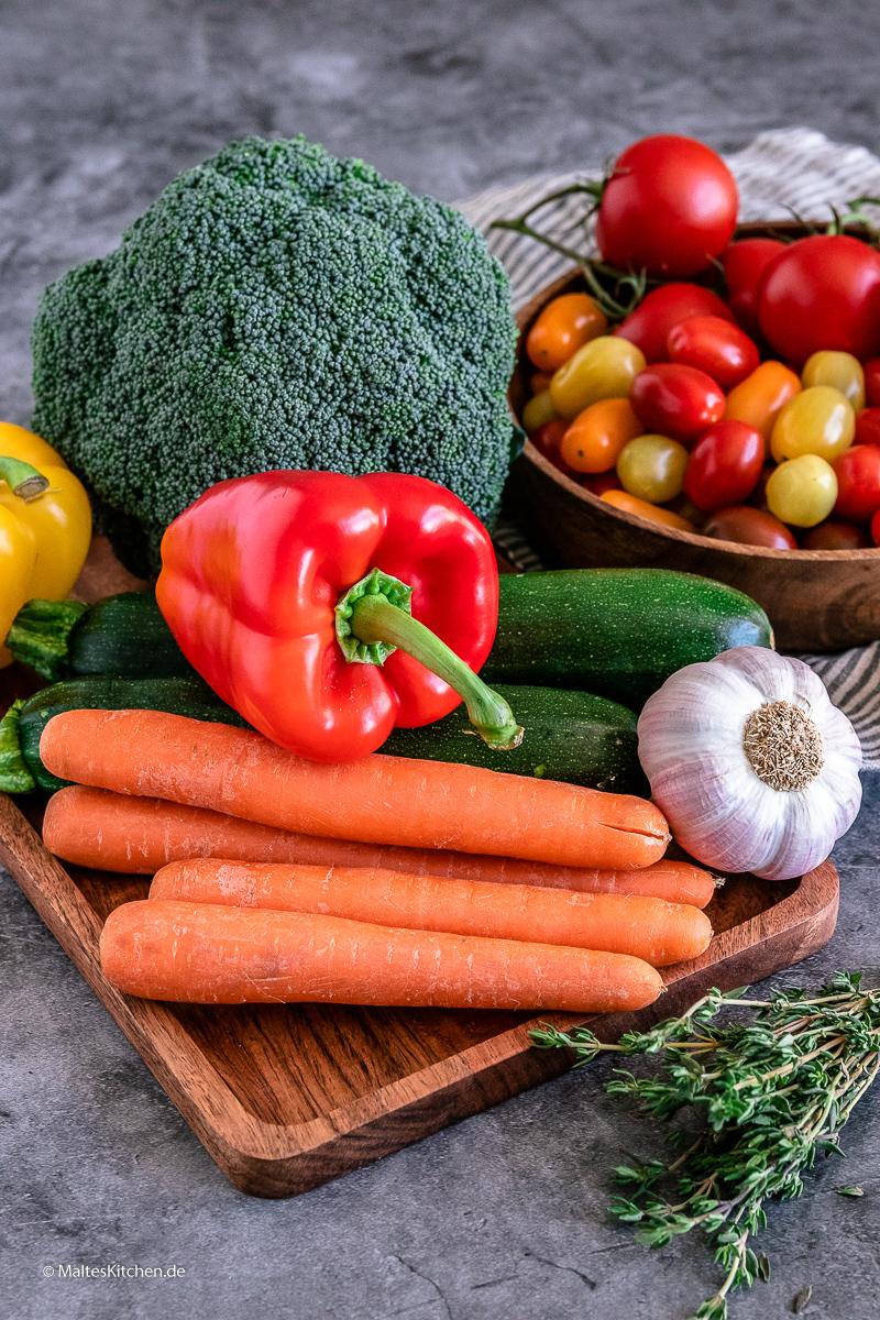 Knackiges Gemüse für meine Veggie-Quiche.
