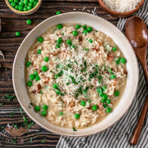Rezept cremiges Risotto mit Pancetta und Erbsen