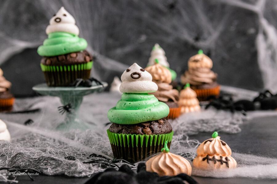 Rezept Double Chocolade Muffins mit Baiser Geistern und Kürbissen