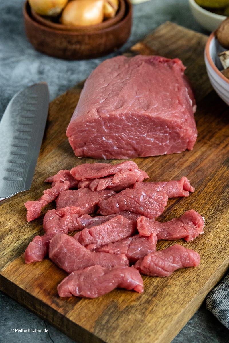 Geschnetzeltes Rindfleisch.