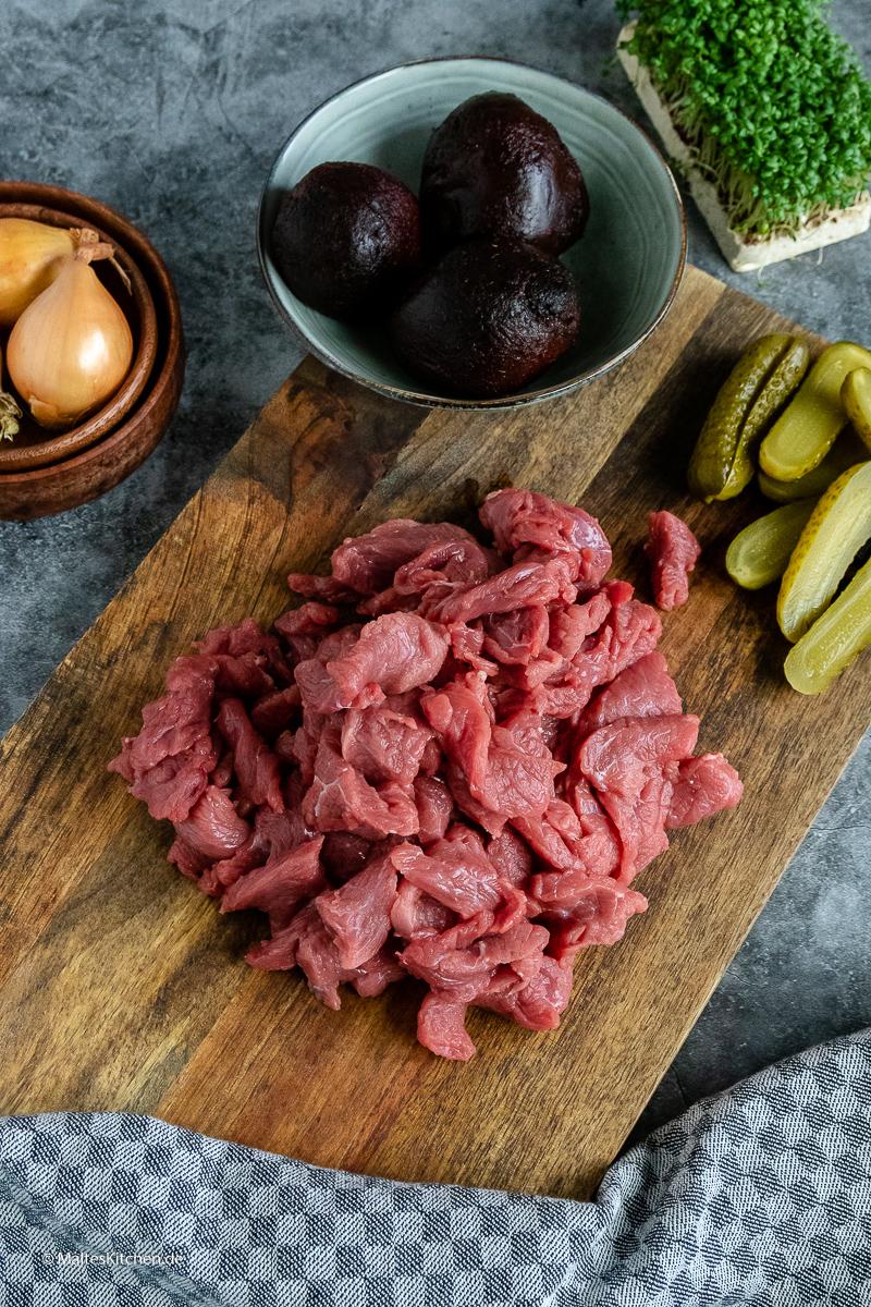 Rindfleisch aus dem Bug für Beef Stroganoff.
