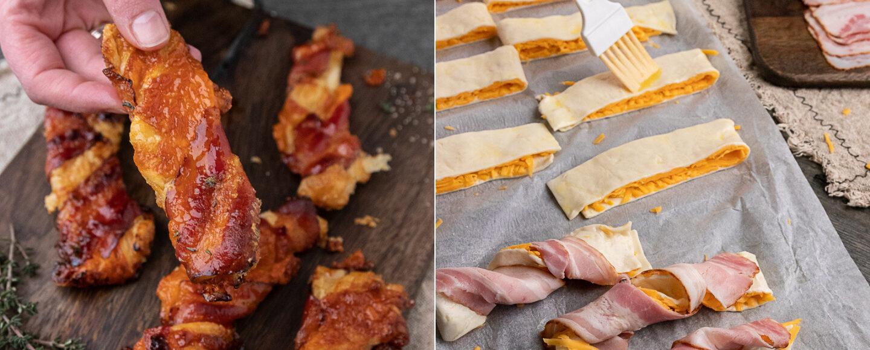 Rezept für Blätterteigstangen mit Cheddar und Bacon