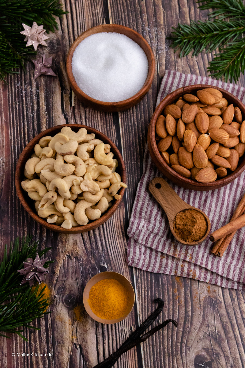Gebrannte Mandeln und Cashew Nüsse selbstgemacht.