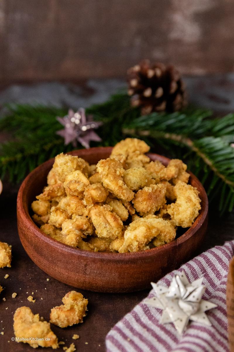 Gebrannte Curry Cashews Nüsse.