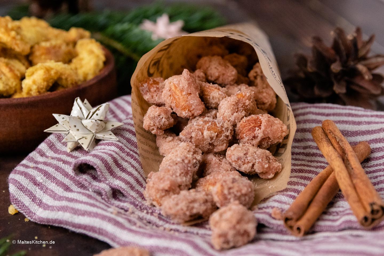 Rezept für selbstgemachte gebrannte Mandeln und Curry-Cashews