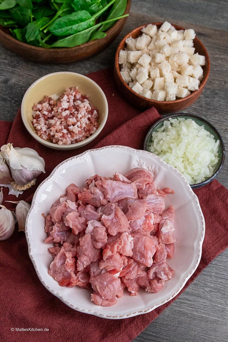 Kalbfleisch für die Füllung der Maultaschen.