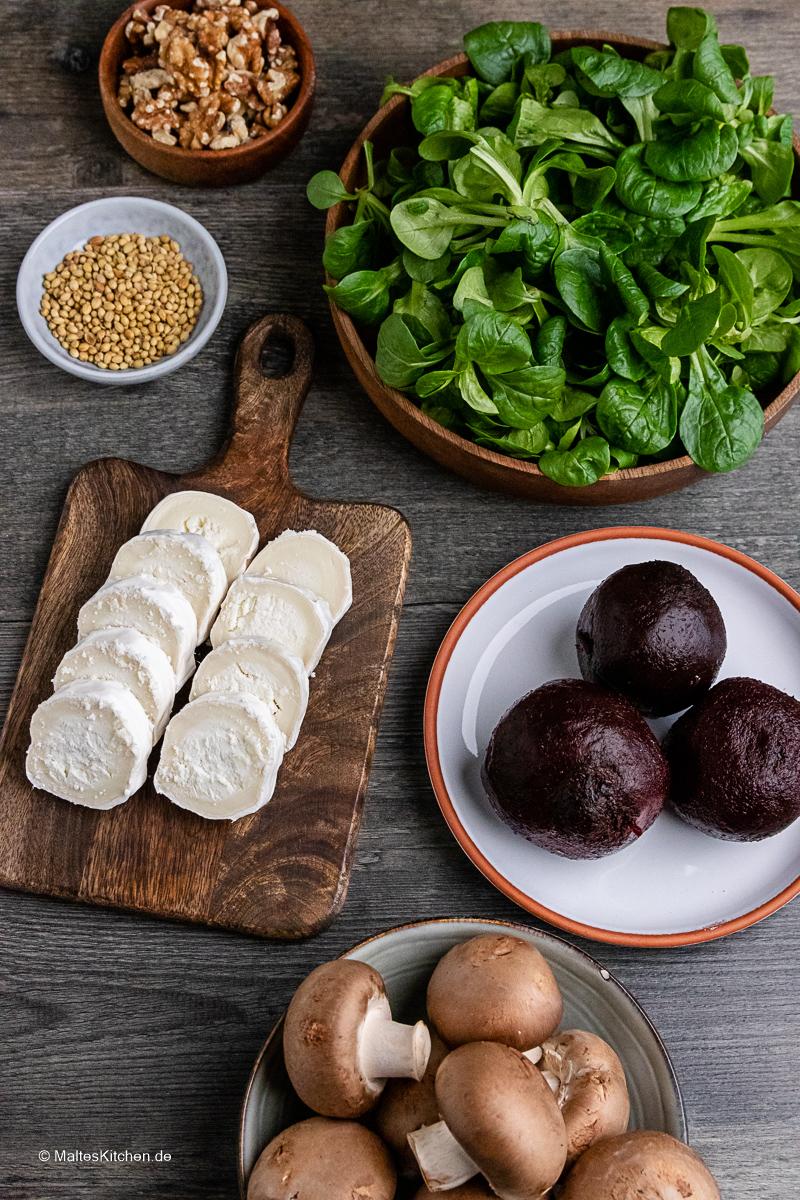 Zutaten für den rote Bete Salat.