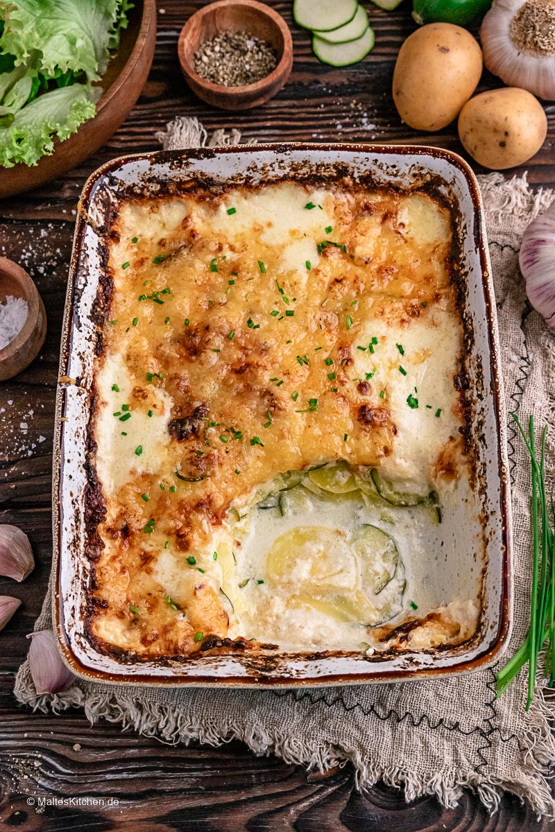 Einfach und lecker. Kartoffel-Zucchini-Gratin nach Johann Lafer Rezept.