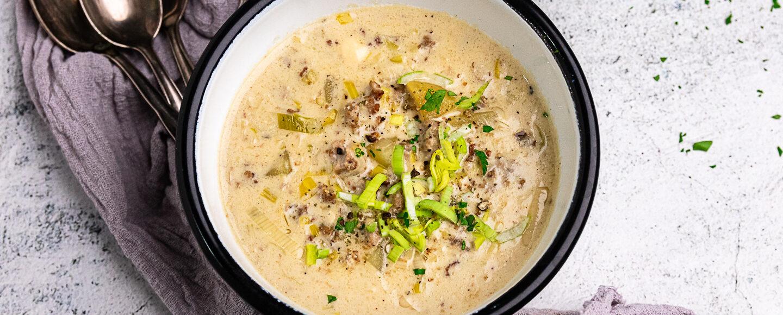 Rezept Käse-Lauch-Suppe mit Hackflesich und Kartoffeln
