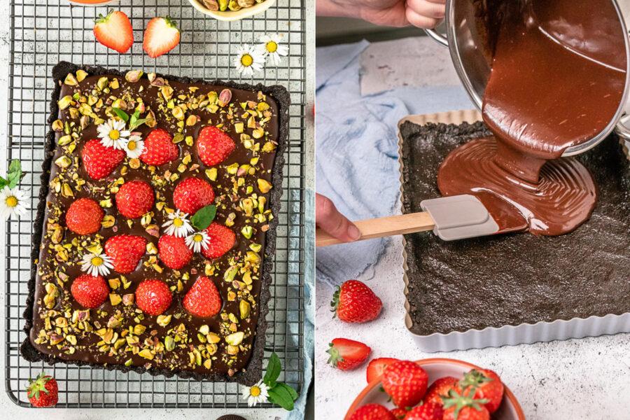 Schokoladentarte ohne Backen mit Erdbeeren und Pistazien