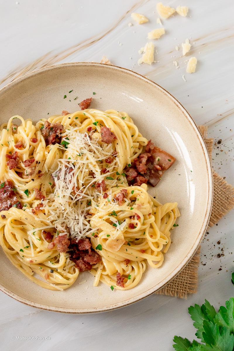 Spaghetti Carbonara nach Jamie Oliver Rezept.