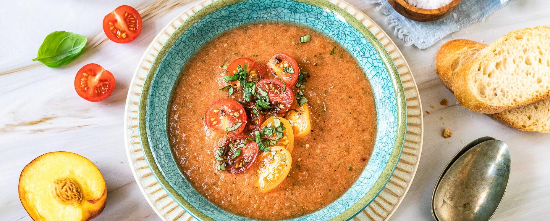 Rezept für eine Gazpacho mit Pfirsich und Tomaten