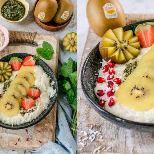Rezept Kokos-Milchreis mit Kiwi und Erdbeeren.