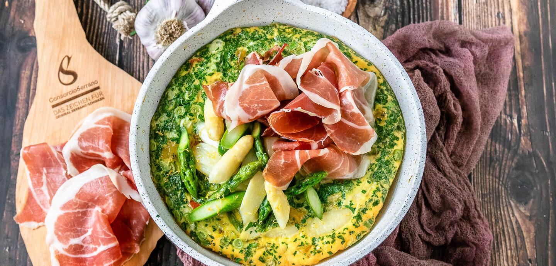 Rezept Tortilla mit Spargel und Serrano-Schinken.