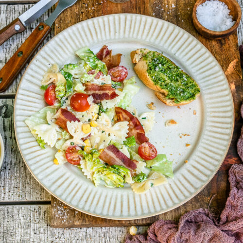 Rezept BLT-Salat mit Bacon, Tomaten und Blattsalat.