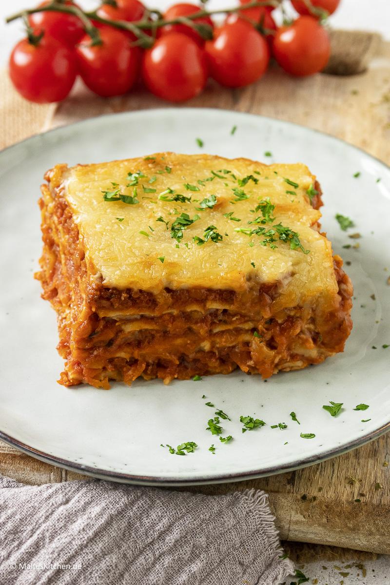 Meine Lasagne mit Linsen-Bolognese.