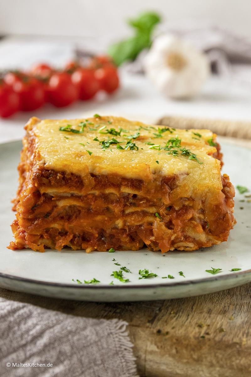 Eine super leckere hausgemachte Lasagne mit Linsenbolognese.